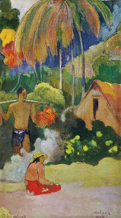 A hora da verdade II (Os mensageiros de Oro). 1893. Artista: Paul Gauguin. Ateneum, Helsinque, Finlândia.