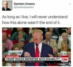 Mocking the Disabled. shows a lack of empathy and decency. <<shows he's a piece of shit Donald Trump, Pray For Venezuela, Faith In Humanity, Social Justice, Social Issues, That Way, Equality, Just In Case, Decir No