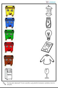 Den Země, třídění odpadu, barevné kontejnery - pracovní list
