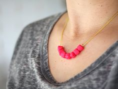 wow! Cute necklace in HOT pink! (c) amerrymishap