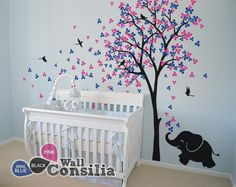 Babyzimmer wandtattoo mädchen  Baby Kinderzimmer Wandtattoo - Baum Wall Decal Elefant Aufkleber ...