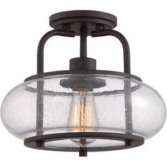 This attractive flush mount pays homage to tradition with a vintage-inspired filament bulb that is both nostalgic and chic.