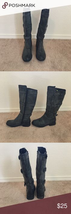Bucco Vegan Leather Boots! Bucco Brand Boots.  Gray.  8.5.  Run big.  Barely worn.  Not real leather.  Made in China.  Not the highest quality.  Nice pair of boots to wear on occasion   It's hard to find gray boots!  Make me an offer!! bucco Shoes Combat & Moto Boots