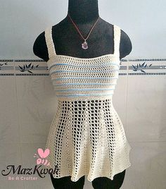 peplum tank top free #crochet pattern by Maz Kwok