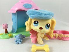 Littlest Pet Shop RARE Blonde Cocker Spaniel #91 w/Mini House, Hat & Accessories #Hasbro