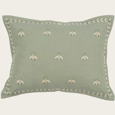 Napoleon bees on green hand embroidered cushion from Chelsea Textiles. Choose more from our quality decorative cushions and pillows, and assorted, luxury and designer ranges.