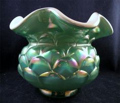 This beautiful Fenton vase is an American treasure that reminds me of an artichoke - I can almost smell the garlic mayo - from the Ruby Lane shop San Marcos Art Glass