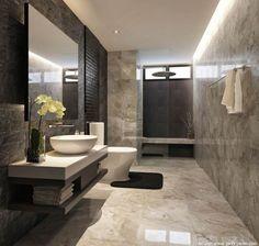 Stylowa łazienka z kamieniem