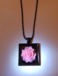 Pink Rose Black Necklace 18 Inches by RoseyJohnny on Etsy #christmasgifts #giftsunder5dollars #etsy #etsyjewelry