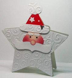 Santa star...What a great idea!!...a Christmas card ready to hang on the tree and last for years as a fond reminder of the sender.,.