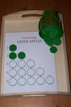 """Counting GREEN APPLES Place the correct number of foam """"apples"""" in each row. ~Counting, Number Recognition~"""