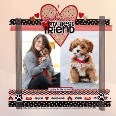 My best Friend Scrapbook Page 2 Picture layout Dog Scrapbook Layouts, Scrapbook Sketches, Scrapbook Cards, Scrapbook Designs, Friend Scrapbook, Baby Scrapbook, Scrapbook Paper Crafts, Box Photo, Picture Layouts