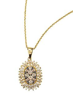 Effy 14 Kt. Gold Brown and White Diamond Pendant Necklace