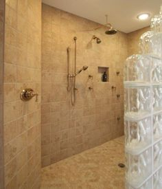 Tile and glass block walk in shower