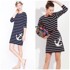 Our much-loved maritime dress is destined to get a stamp of approval w/ a whimsical anchor punctuating nautical stripes. We love the easy yet elegant fit & the substantial feel of the fabric, which holds its shape beautifully. Wear it cinched at the waist with a pair of stacked-to-the-sky espadrilles or sans belt with some ballets for a look that's truly see-worthy. Cotton. Long sleeves. Shift silhouette. Falls to midthigh. Side zip. Great condition. Tiny fabric pull as shown in last pic…
