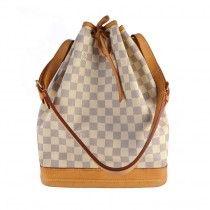 Louis Vuitton Noe i Damier Azur Canvas Louis Vuitton Damier, Balenciaga, Burberry, Dior, Chanel, Canvas, Bags, Tela, Handbags