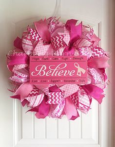 Breast Cancer Wreath, Breast Cancer Awareness Wreath, Breast Cancer Survivor, Breast Cancer Believe, BCA, Breast Cancer Awareness Month