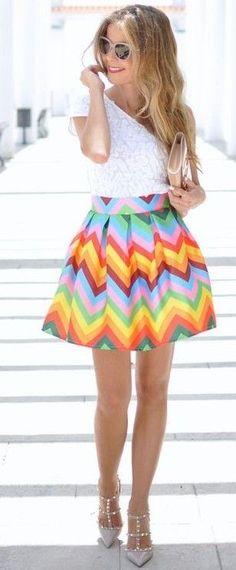 #summer #feminine #style  #outfitideas   White + Rainbow Chevrons