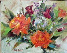 """This painting was juried in to The Saga Fine Art Gallery """"Kaboom"""" show in Monrovia, CA in 2015.  The roses came from my Mardi Gras rose bush.  They are the first roses to bloom each Spring in my California garden.  They must know it's Mardi Gras time in New Orleans!"""