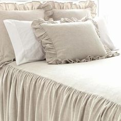 Pine Cone Hill   Wilton Natural Bedspread   An all-new cotton/linen take on one of our best-selling products. Bedspread has 30-inch, gathered drop.