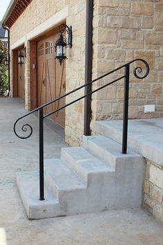 Iron railings railings and irons on pinterest for Exterior wall mounted handrails for stairs