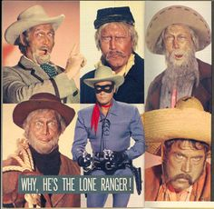 """Clayton Moore resorted to a variety of disguises on his """"Lone Ranger"""" TV series. Here's a montage of those disguises."""