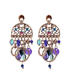Look what I found on #zulily! Purple & Blue Net Drop Earrings #zulilyfinds