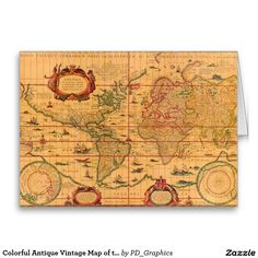 Colorful Antique Vintage Map of the World Greeting Card