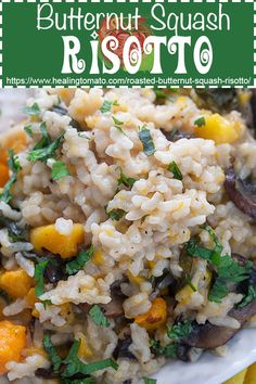 Easy vegan risotto made with roasted butternut squash and easy spices Healthy Vegetable Recipes, Easy Rice Recipes, Lunch Recipes, Vegetarian Recipes, Savoury Recipes, Healthy Cooking, Vegan Risotto, Risotto Recipes, Vegetarian Comfort Food