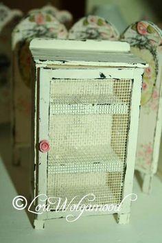 Shabby Shelf Pie Safe Miniature for Dolll House OOAK