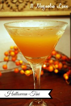 """Whipped Apple Cider Martinis --their """"Halloween"""" colors make them perfect for a Halloween party!"""