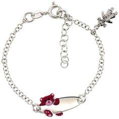 Baby Bracelets:  Sterling Silver ID Bracelets with Pink Teddy Bear $43.50