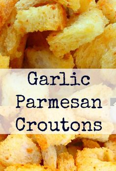Garlic Parmesan Croutons delicious crispy croutons perfect for salads soups just in a bowl at parties oh so many good ways to eat these! Chefs, Crouton Recipes, Great Recipes, Favorite Recipes, Good Food, Yummy Food, Garlic Parmesan, Fabulous Foods, Soup And Salad