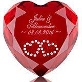 Herz-Diamant mit Gravur - romantisches Geschenk Freund & Freundin - originelle Idee für Verliebte zum Jahrestag (Rot, Swarovski-Kristalle: 2 weiße Herzen)