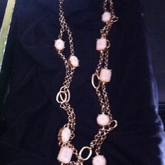 2 strands of beautiful faceted white stones Lobster clasp about 25' at the longest Jewelry Necklaces