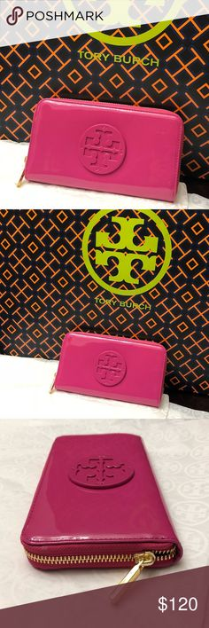 """Stacked Patent Zip Continental wallet 100% Authentic  Item: Zip Around Clutch Wallet  Name: Stacked Patent Zip Continental  Color: Hibiscus Flower    Code: 676  Model: 18169285  Width: 7.5""""  Height: 4.5""""  Depth: 1"""" Hibiscus Flower patent leather   Large Tory Burch patent leather emblem attached to top front center  Interior: Front: Totally open with 4 credit card sleeves and 1 unfolded bill sleeve on front wall; Middle: Zippered pocket for coins; Back: Totally open with 4 credit card sleeves…"""