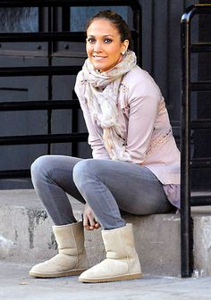 JLO in a casual combo of jeans and Uggs