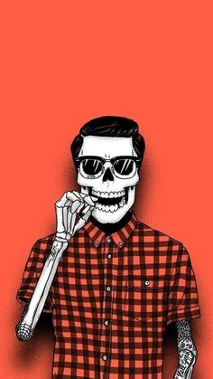 ↑↑TAP AND GET THE FREE APP! Hard Hipster Skeleton Red Cool Stylish Illustration Plaid Shirt Sunglasses Tattoo Simple Unicolor Brutal HD iPhone 6 plus Wallpaper