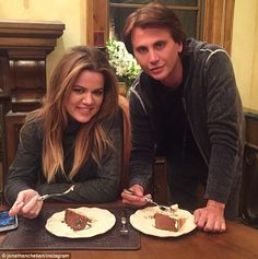 Publicist Jonathan Cheban posted a snap of him and Khloe eating birthday cake Saturday aft. Kim And Kylie, Kylie Baby, Jonathan Cheban, Kardashian Style, Jenners, Birthday Cake, Birthday Cakes, Cake Birthday