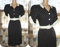 $41.99 #Vintage #80s Retro #50s Black & White Polka Dot Sexy Secretary #Dress Belted Straight Sweep Pin-Up #VLV M/L #VCAT #VINTAGELOVE by IntrigueU4Ever, $41.99