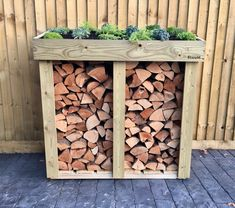 A hand-made Bluum Log Store. This medium-sized 'Midi' was made to provide an attractive yet functional and extremely useful firewood / log storage solution. The store looks great in any garden or driveway, with its unique living green roof area ready to showcase a selection of sedum, alpines, herbs and grasses. This is a log storage solution to keep the keen gardener happy, as well as bringing a useful addition to your outside space.