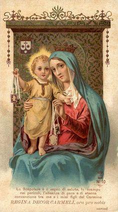 La fervida devozione alla Madonna del Carmelo in Italia Jesus Mother, Blessed Mother Mary, Blessed Virgin Mary, Religious Images, Religious Icons, Religious Art, Catholic Art, Catholic Saints, Mont Carmel