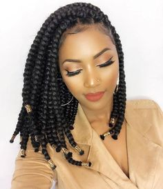 Crochet braids made a huge debut in 2015 and we're sure they are not going out of style anytime soon. Check out this list of chic Crochet Braids Hairstyles! Bob Box Braids Styles, Box Braids Styling, Curly Hair Styles, Braids Bob Style, Crochet Braids Hairstyles, African Braids Hairstyles, Girl Hairstyles, Hairstyles Pictures, Short Box Braids Hairstyles