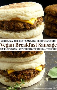This is seriously the best vegan sausage recipe EVERRRRR. Great on it's own or served on English muffins, now you can enjoy this classic protein-packed breakfast without all the junk. Naturally healthy, cruelty-free, nut-free, and gluten-free. Best Vegan Sausage Recipe, Vegan Breakfast Sausage Recipe, Best Vegan Breakfast, Sausage Breakfast, Healthy Vegetarian Breakfast, Vegan Breakfast Muffins, Vegan Gluten Free Breakfast, Vegan Pancakes, Breakfast Potatoes