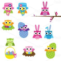 Check out Easter Owls Vectors and Clipart by PinkPueblo on Creative Market