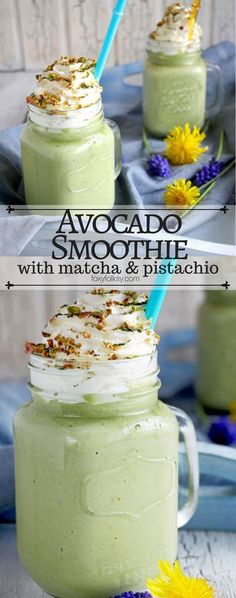 nice Avocado Smoothie with Matcha and Pistachio