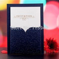 Azul oscuro invitaciones De Boda 2015 elegante negocio tarjeta De invitación De Boda Convite De Casamento favores De la Boda(China (Mainland))