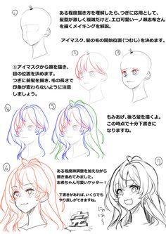 ほ~さく@9.30JKビッチパケ版発売 @Whooosaku 顔、髪型の描き方講座まで作ってしまった。ここまでくると自分のメモだよ。