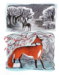 """""""Stopping by Woods"""" by Angela Harding. Linocut and silkscreen"""