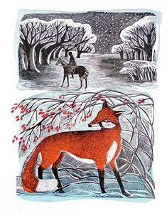 """Stopping by Woods"" by Angela Harding. Linocut and silkscreen. http://www.twenty-twenty.co.uk/"